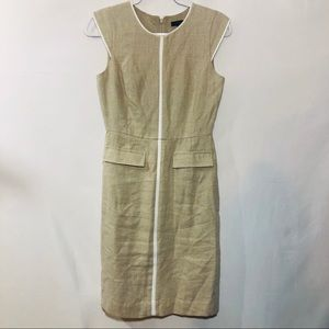 J Crew tan sleeveless linen dress